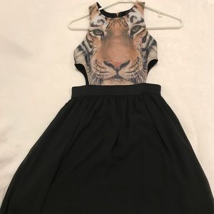 forever 21 tiger face black zip up dress